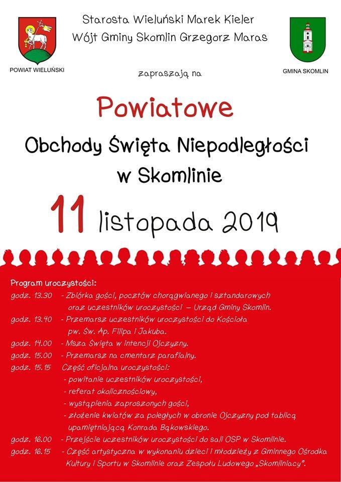 Zaproszenie na Powiatowe Obchody Święta Niepodległości w Skomlinie